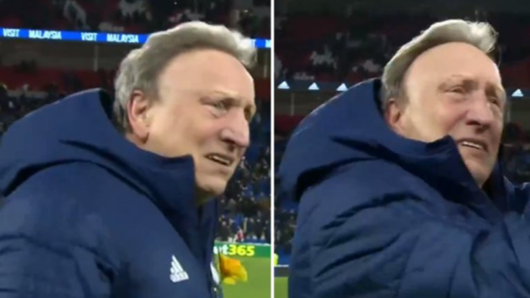 Мениджърът Нийл Уорнък се разчувства, докато поздравяваше феновете след победата