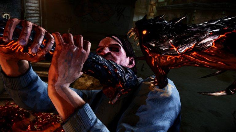 The Darkness  Убиването на гангстери във видеоигра не е нищо ново, но когато го правите с две демонични пипала, актът става особено жесток и запомнящ се. В играта главният герой владее магически зли сили и е способен да разчленява безпомощните врагове както си иска.