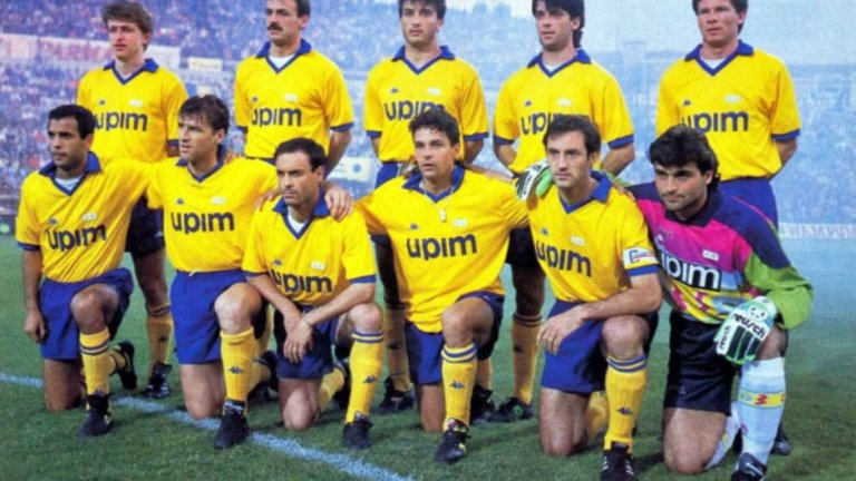 Ювентус от началото на 90-те: Мароки, Колер, Казираги, Лупи, Ройтер, Галя, Карера, Скилачи, Баджо, Де Агостини, Перуци.
