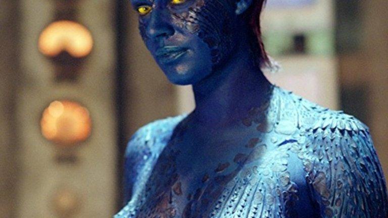 """Тогава идва и """"пробивът"""" - ролята на Мистик във филма X-Men. Героинята й е мутантка със синя кожа, която може да приема формата на всеки човек. По време на снимките Ромейн е напълно гола, кожата й е покрита със синя боя, а специални покрития крият някои по-интимни зони."""