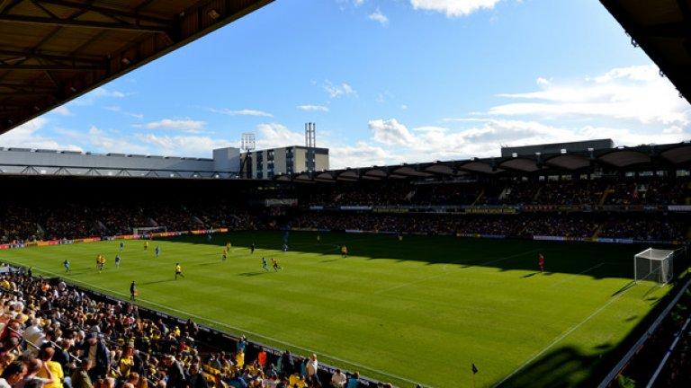 """""""Викъридж роуд"""", Уотфорд Отборът и футбола, който играе са в унисон със стадиона му."""