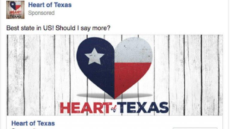 """Групата """"Сърцето на Тексас"""" има 253 862 последователи и спонсорира публикации по няколко теми - за оръжията, против имигрантите и против Хилари Клинтън"""