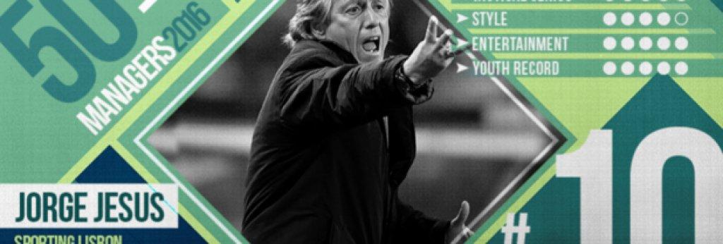 """№10 Жорже Жезус (Спортинг Лисабон), португалец, 61 г. Неразбран, старомоден, Жезус е сред най-добрите треньори в Португалия. Напусна Бенфика, за да поеме големия противник Спортинг Лисабон, обещавайки, че ще върне величието на клуба, чиито цветове защитаваше като футболист и който няма титла в Примейра от 2001/02. Не спечели в първия си сезон. Завърши втори, но счупи няколко рекорда - Спортинг завърши с 86 точки, най-доброто постижение на тима, завърши кампанията с девет поредни победи, загуби само на два пъти през целия сезон в Примейра, а Спортинг спечели 36 победи - още един клубен рекорд. """"Понякога по-добрият отбор не печели"""", казва човекът, за когото се смята, че е причината за огромното развитие на Адриен Силва, Жоао Марио и Ислам Силмани през последните 12 месеца. Той е човекът, който сложи край на доминацията на Порто, печелейки три титли с Бенфика в рамките на шест сезона. А след края на последния малко бяха изненадани, че специалистът отдаде последните успехи на """"орлите"""" на основите, които той постави. С няколко думи - не залагайте срещу него, тъй като, като всички велики, и той мрази да губи."""