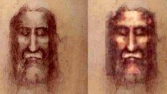 Лицето от Торинската плащеница - едноцветно (вляво) и оцветено (вдясно)