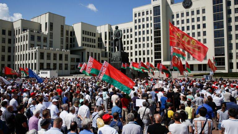 Контрапротестът в подкрепа на Лукашенко