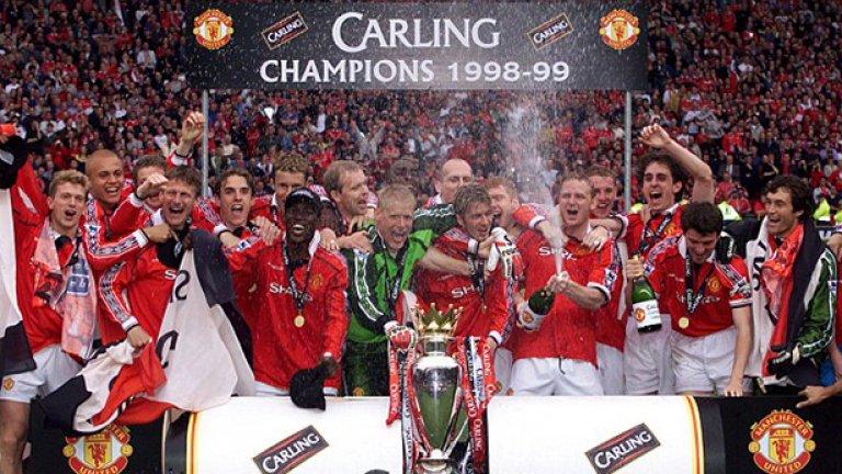 В онзи сезон 1998-99 г. първо бе спечелена титлата на Англия, преди да дойдат драмите в другите два турнира. Юнайтед изживя най-славния си миг.