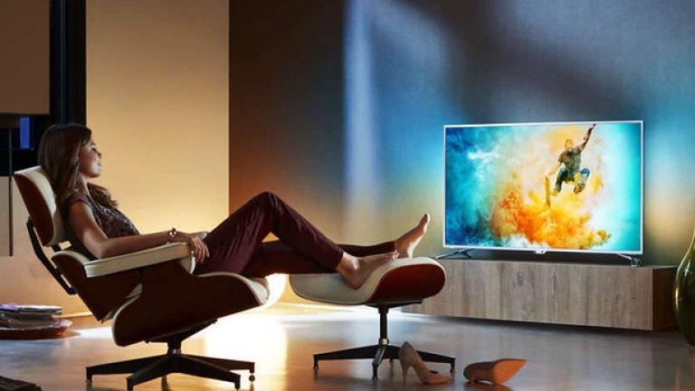 """Philips 6000 series Ултратънък 4K телевизор, работещ с Android TV, с 2-странен Ambilight и Pixel Precise Ultra HD 108 см (43"""")"""