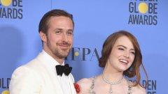Той благодари на Ема Стоун и режисьора Деймиън Чазел, но посвети речта си на жена си - Ева Мендес.