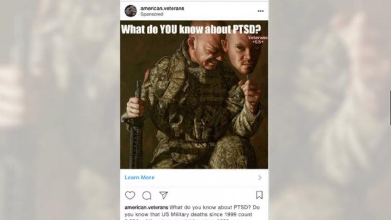 """""""Какво знаете за пост-травматичното стресово разстройство?"""" се пита в спонсориран постинг в Instagram, насочен към ветерани от войните"""