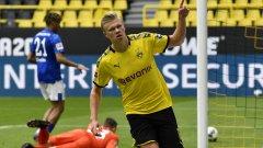 Ерлинг Хааланд има вече 10 гола в девет мача в Бундеслигата