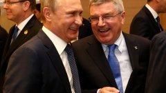 Владимир Путин и Томас Бах по време на откриването на Европейските игри в Баку през 2015 година