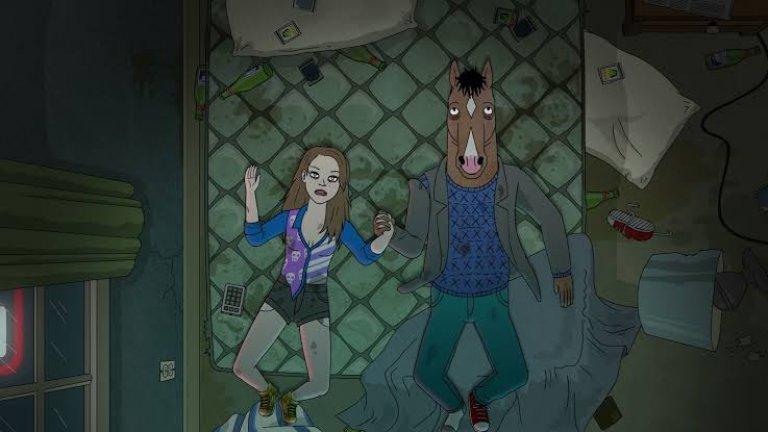 """""""Конят Боджак"""" (BoJack Horseman) BoJack Horseman на стрийминг платформата Netflix е анимация за възрастни, която осмива холивудския начин на живот, като някои от шегите за известните личности са толкова завоалирани, че трябва да гледате епизодите отново, за да ги хванете. Комедията на сериала не се изчерпва само с популярните имена на индустрията, а разиграва и почти всички филмови клишета, някои от които могат да се изпуснат при първото гледане. И междувременно се задават някои прозорливи въпроси за човешкото съществуване, родени в главата на анимационен кон."""