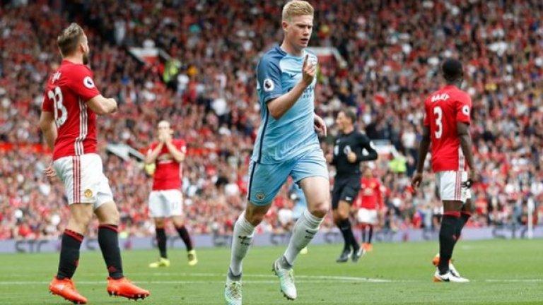 Кевин Де Бройне (Манчестър Сити): 18 асистенции (12 от игра + 6 от статични положения), 103 създадени шанса, 6 гола, 160.17 мин. на асистениция Играчът на Ман Сити също постави клубен рекорд за асистенции в Премиършип, но стана и индивидуален лидер по този показател през сезона в Англия. Белгиецът е взел пряко участие в най-много попадения за тима на Гуардиола - 24.