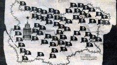 """Антикомунистическото шествие на """"Национална съпротива България"""" извади картата на затворите и лагерите в социалистическа България, заради използването на която някои смятат, че СДС загуби изборите през 1990 г."""