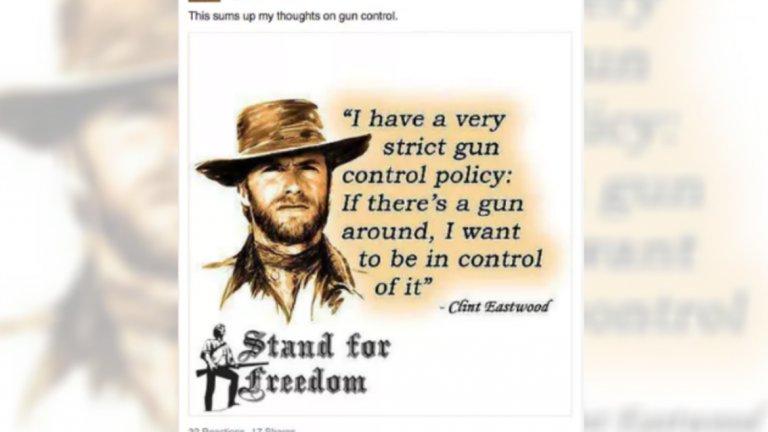 """""""Имам много стриктна политика за контрола на оръжията: Ако наоколо има оръжие, искам да държа контрол върху него"""", Клинт Ийстуд - тази публикация отново е спонсорирана от руската компания"""