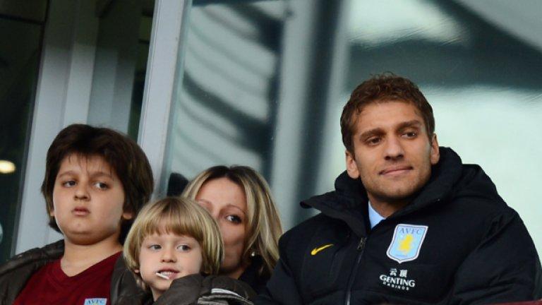 Стилиян Петров със семейството си на мача с Челси