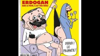 Карикатурата на турския президент в сатиричното издание предизвика нова вълна на гняв срещу Франция и френския президент Еманюел Макрон
