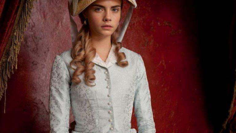 """Както много млади супермодели, Кара е изкушена от киното. И то от нея. Аристократичният произход на Делевин я прави перфектен избор за костюмни драми и през 2012-а тя дебютира с малка роля в екранизацията на Джо Райт по руската класика """"Ана Каренина""""."""