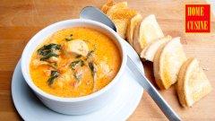 Испанска доматена супа с пиле и спанак