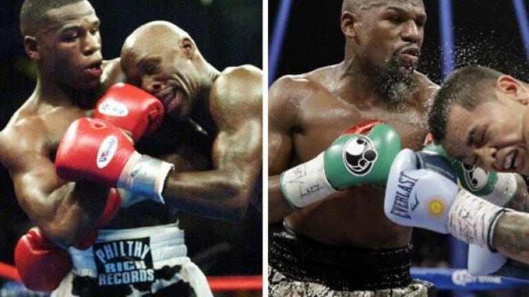 """Флойд Мейуедър - 2004 и 2014-а. Боксьорът не изглежда остарял, а в спорта му това обикновено означава, че и не понася много удари и не губи твърде често. Флойд си е все """"джуниър"""", какъвто си беше още на олимпиадата в Атланта през 1996 г."""