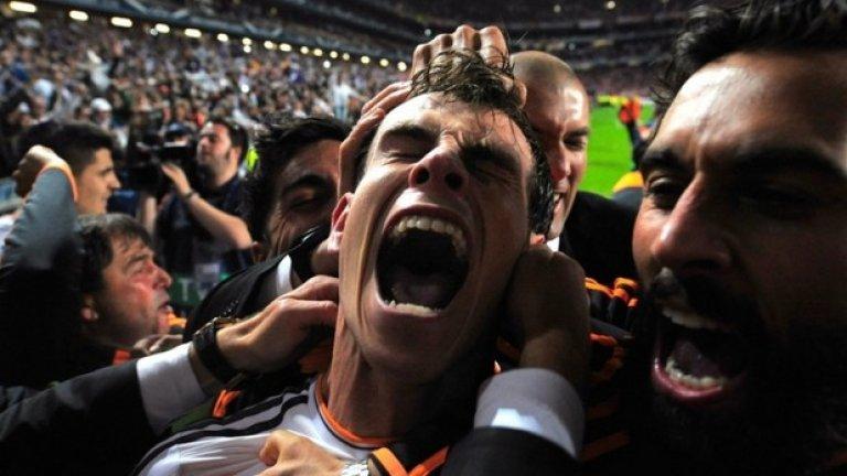 Гарет Бейл празнува със своите съотборници след като отбеляза попадения във финала на Шампионската лига. Реал Мадрид спечели Десетата си титла от надпреварата през май
