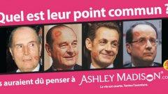 Кампаниите на AshleyMadison.com винаги припомнят на високопоставените мъже, че е трябвало да използват сайта, за да не бъдат разкрити аферите им. В случая на прицел са Франсоа Митеран, Жак Ширак, Никола Саркози и Франсоа Оланд