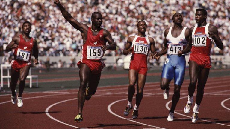 24. Сеул 1988: Бен Джонсън Бен Джонсън печели златния медал на спринта на 100 м, но три дни по-късно е дисквалифициран заради допинг и медалът му е отнет.