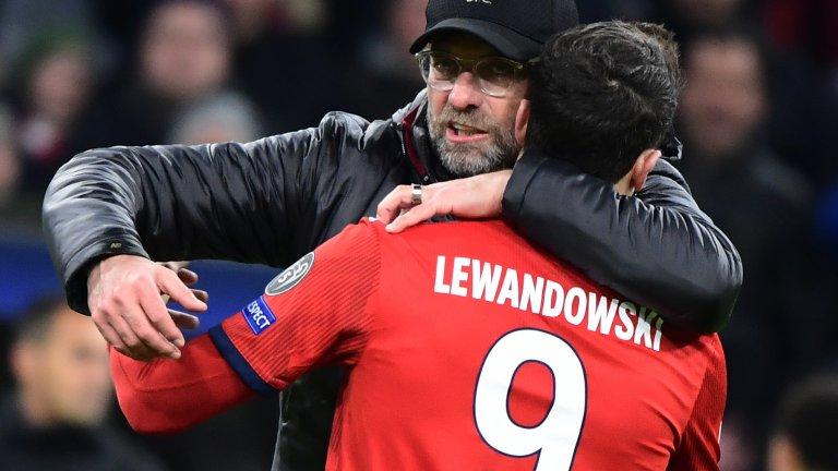 """Роберт Левандовски и Юрген Клоп се срещнаха за последно, когато Ливърпул отстрани Байерн Мюнхен на осминафиналите в миналогодишното издание на Шампионската лига, когато """"червените"""" триумфираха с купата с големите уши"""