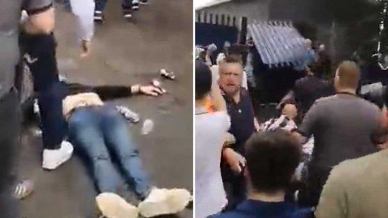 Жесток бой между английски футболни агитки около фен в безсъзнание (видео)