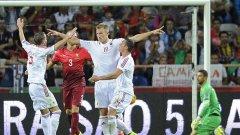 Беким Балай (№19) наниза единствения гол за Албания и смълча португалските фенове.