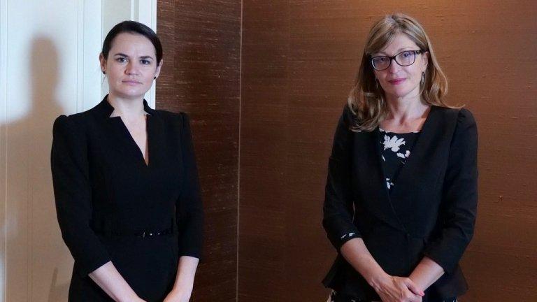 Междувременно министър Захариева се срещна с лидера на опозицията в Беларус Светлана Тихановская