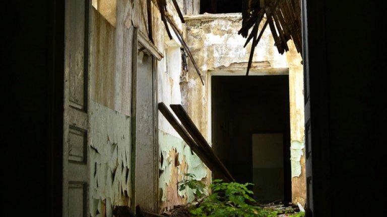Достъпът до последния етаж е силно затруднен заради срутения покрив и прогнилия под, пронизан от корените на поникналите в него дръвчета