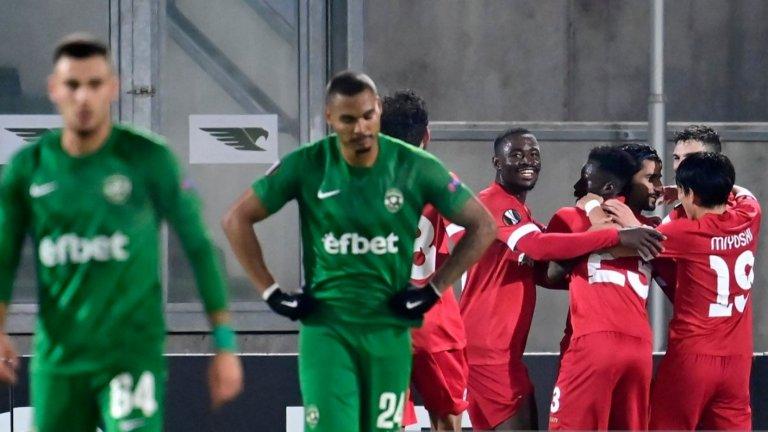 Лудогорец отново беше набит в Лига Европа, остава без точки