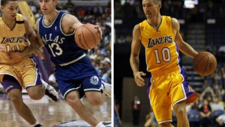 Стив Неш - 1999 г. и вдясно през 2014-а. Наскоро се отказа, но до последно младееше, а и играеше с ентусиазъм на новобранец в НБА.