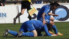 Тони Калво и Иван Цветков се радват на първия гол при победата на Левски с 3:0 срещу Славия