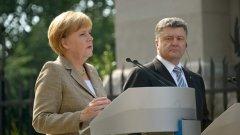 Германският канцлер Ангела Меркел заяви, че новите санкции ще бъдат наложени на Москва, ако не промени курса си, като отхвърли възможността за военно решение на конфликта.