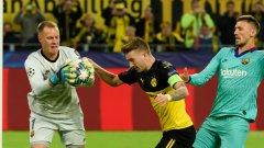 Тер Щеген отказа Марко Ройс и останалите нападатели на домакините в един много труден мач за Барселона
