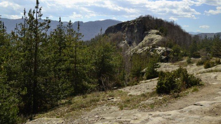 Скалите на самото светилище се извисяват над дърветата в края на пътечката.