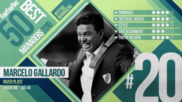 №20 Марсело Галардо (Ривър Плейт), аржентинец, 40 г. Наричан Южноамериканския Гуардиола, не само защото и двамата са родени на 18 януари (Пеп е с 5 години по-възрастен), но и заради тактическата им брилянтност. Галардо води тима на Ривър от 2014 година, а през 2015-а изведе тима до първия му трофей в Копа Либертадорес от 96-а насам.