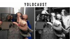Вляво - оригиналното селфи на двойка туристи в Берлин. Вдясно - визията на Шахак Шапира, който напомня, че Холокостът не е атракция.