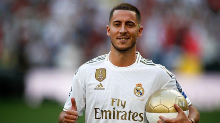 """Еден Азар - Реал Мадрид, 100 млн. евро (2019)  След като осъществи мечтания и няколко пъти отлаган трансфер в Реал, белгиецът пристигна на """"Бернабеу"""" с няколко килограма наднормено тегло. Първите месеци бяха тежки и лошата му кондиция, както и няколкото контузии, му попречиха да се наложи в състава. Изигра няколко срещи, в които никак не блесна, в края на ноември отново се контузи и Зинедин Зидан трябваше да вдигне отбора без неговия принос.  Този уикенд се очаква Азар най-сетне да се завърне в игра, но Реал Мадрид тъкмо влезе в отлична форма без белгиеца, а той няма как да се е адаптирал към тима, докато беше извън терена. Разбира се, крилото тепърва ще има възможност да се докаже в Реал, но дотук статистиката му показва един гол и 4 асистенции и той е безспорно разочарование."""