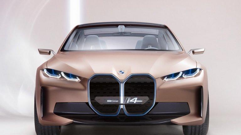 BMW Concept i4   Отзивите за този концептуален електромобил на BMW са противоречиви, особено заради тази масивна бъбрековидна предна решетка. Посланието на баварците обаче е едно - можем да правим каквото си поискаме и пак ще ви е любопитно какъв е крайният продукт, особено щом не е с двигател с вътрешно горене.   Скици на Concept i4 бяха публикувани из интернет още през януари, но колата трябваше да направи бляскавия си дебют в Женева. Тя може да се изфука с 530 конски сили и ускорение от 0 до 100 км/ час за под 4 секунди. Скоростомерът е разграфен до 200 км/час. В купето на това BMW почти няма физически бутони, а по-голямата част от функциите се контролират от инфотейнмънта.   Компанията планира малко по-опростена версия на i4 да влезе в серийно производство през следващата година.