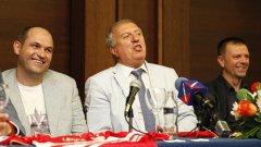 Това са трите водещи фигури в новата управленска структура на ЦСКА - Александър Тодоров е изпълнителен директор, Томов - шеф на надзорния съвет, а Стойчо Младенов - треньор.