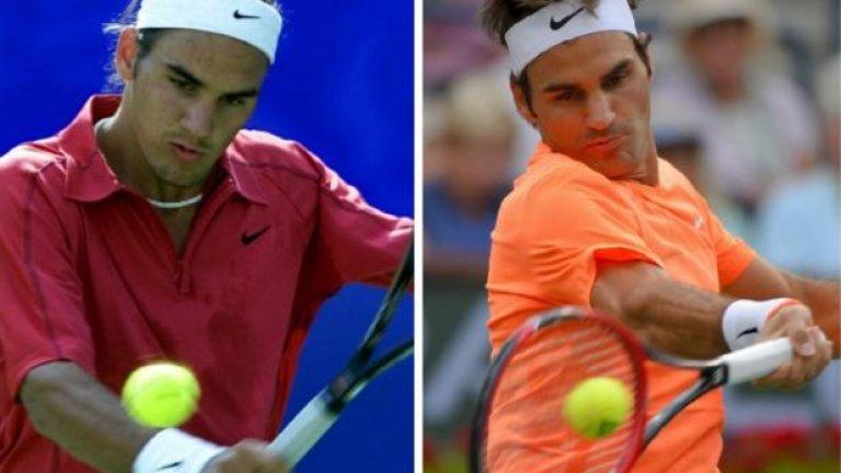 Роджър Федерер през 2000 г. (вляво) и през 2015-а. Само прическата е сменена, останалото не е мръднало. Швейцарецът е като мумифициран, а и продължава да е абсолютна константа в спорта си, който доминира като популярност и титли вече над десетилетие.