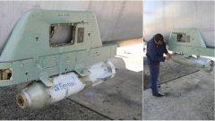 """На снимките от ученията на руския ВМФ се виждат стар военно-транспортен самолет Ан-26 с крепеж за снаряд, върху който е добавен надпис на руски """"Към Берлин!"""" и """"За Сталин!"""""""