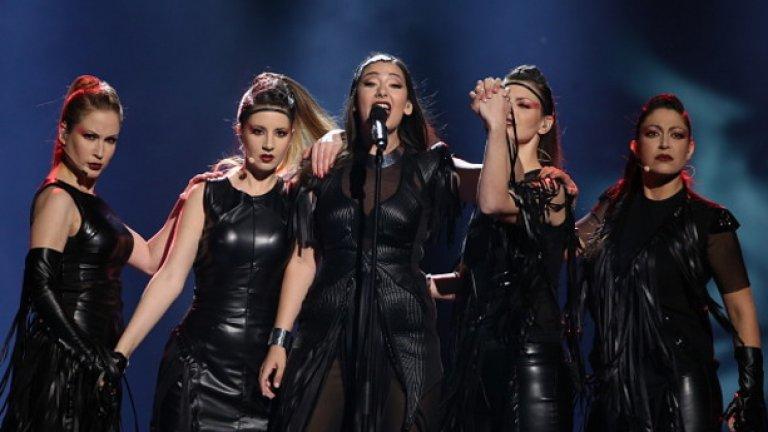 Саня Вучич на сцената на Евровизия