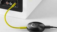 Chromecast Audio изглежда почти по същия начин като новия телевизионен модул Chromecast - малък черен диск с размерите на капачка за буркан с гравюра на логото на Chrome в средата, a визията му напомня на грамофонна плоча