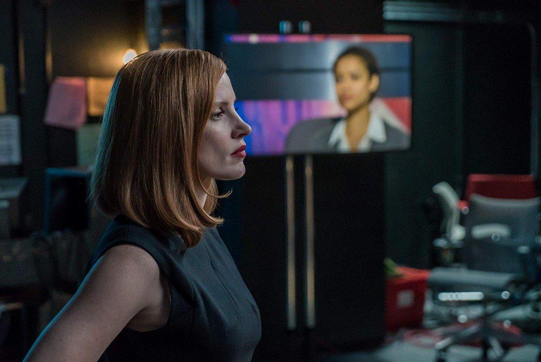 Частейн в ролята на лобистката Елизабет Слоун в политическата драма Miss Sloan