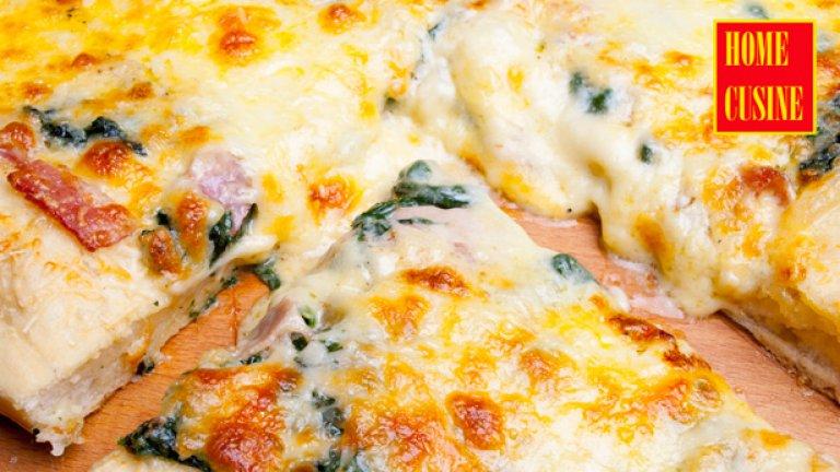 Вкусна пица със спанак