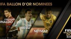Роналдо, Меси и Неймар ще се борят за титлата най-добър футболист за 2015 година